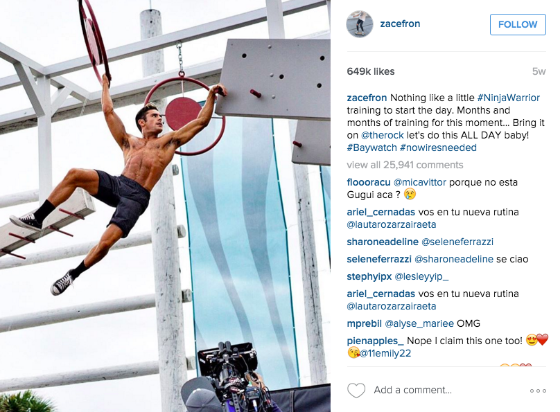 Zac Efron Ninja Warrior Training Pic
