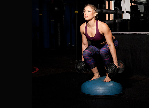 Bosu-Ball Squat and Press