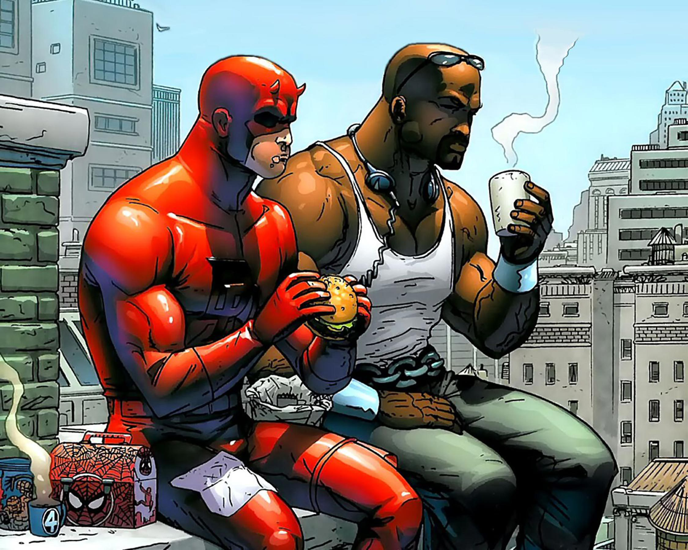Daredevil and Luke Cage Eating